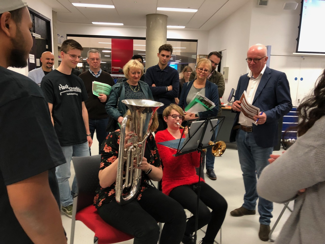 Image of the winning Hackcessible 2018 team, playing the euphonium using their hackcessible solution